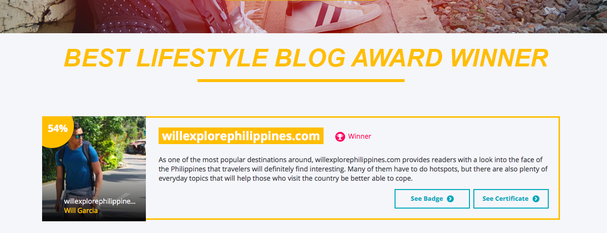 Will Explore Philippines: Voted as Best Lifestyle Blog Award 2017