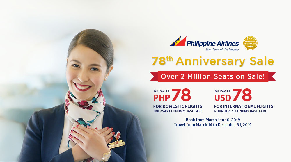 Philippine Airlines 78th Anniversary Seat Sale March 2019